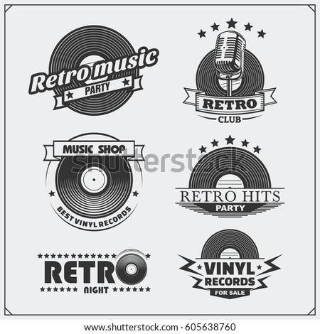 retro music studio emblems
