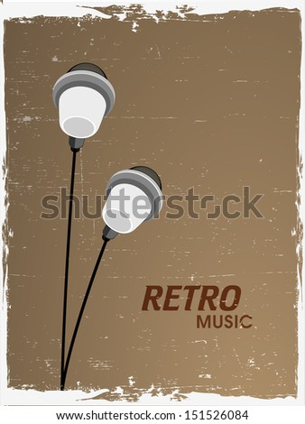 Retro musical background with earphone.