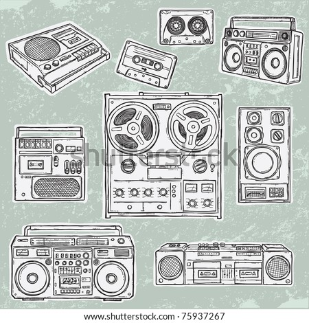 Retro musical equipment. A collection of stylish vector images of old tape recorders.
