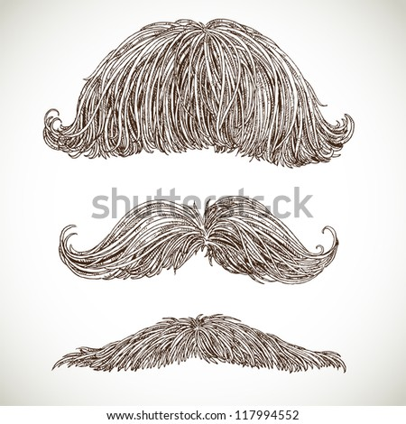 Retro mustache set - stock vector