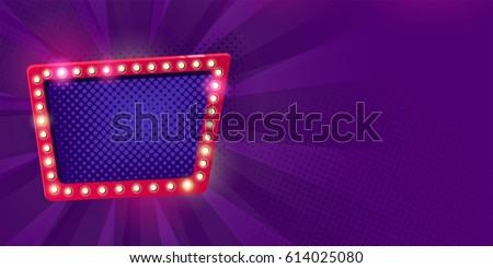 Retro neon Lamps billboard on dark purple background. Billboard frame with bulb lamps. Vector illustration