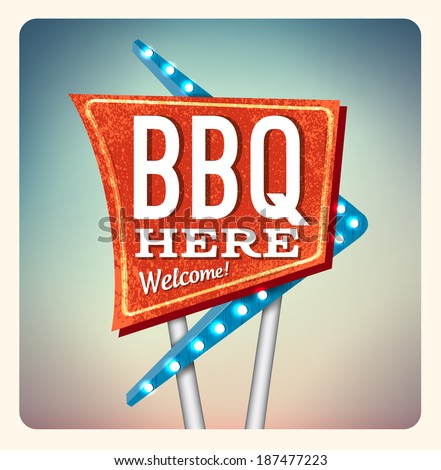 Retro neon lettering sign bbq in the style of American roadside advertising style 1950s