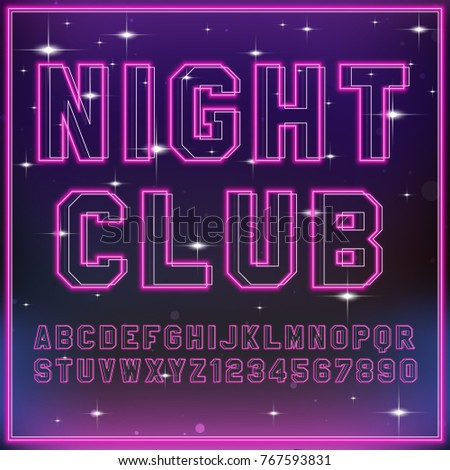 retro neon light font vector