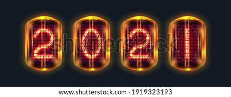 retro neon numbers year 2021