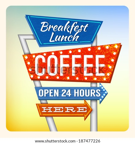 Retro Neon Sign Coffee and Breakfest lettering in the style of American roadside advertising vintage style 1950s