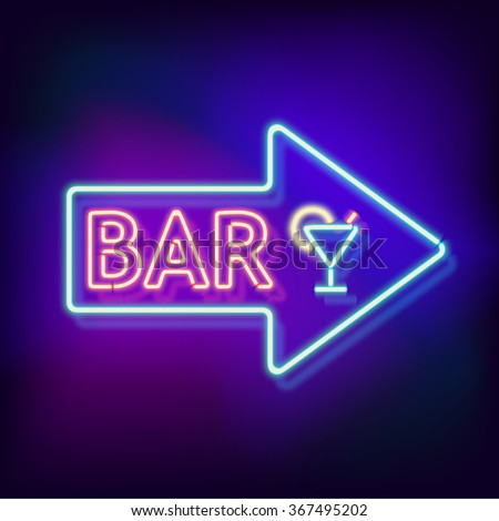 Retro neon sign with the word bar. Vintage electric arrow symbol. Burning a pointer to a black wall in a club, bar or cafe. Design element for your ad, signs, posters, banners. Vector illustration
