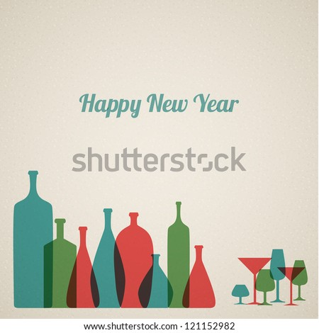 retro new year card with