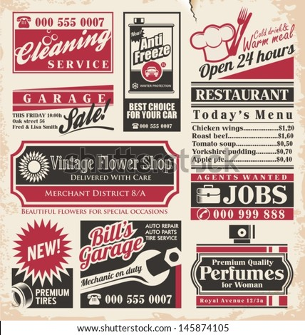 Retro newspaper ads design template. Vector collection of vintage advertisements. Old paper texture layout with promotional creative concepts for different business services, restaurants and shops. #145874105