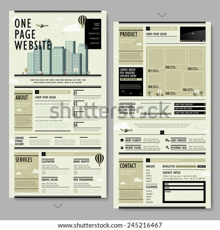 retro newspaper style one page website design