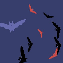 Retro Night Pink Spooky Halloween Art Illustration. Eyes Motion Colorful Black Scary Bats Vector Background. Purple Chaos Sky Creepy Art Flying Bats Fabrics. Red Print Gothic Attack Wallpaper.