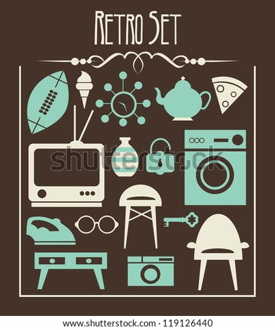 retro objects collection. vector illustration