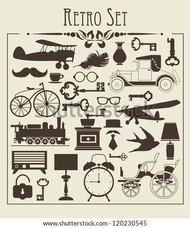 retro objects set vector