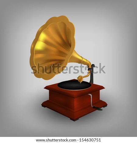 retro old gramophone with horn #154630751
