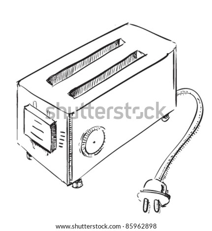 Retro old school toaster. Hand drawing vector sketch doodle illustration in childish and funny style.