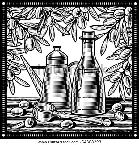Retro olive oil still life black and white. Vector