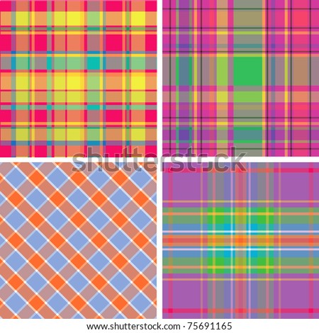 retro orange green brown blue pattern combo - stock vector