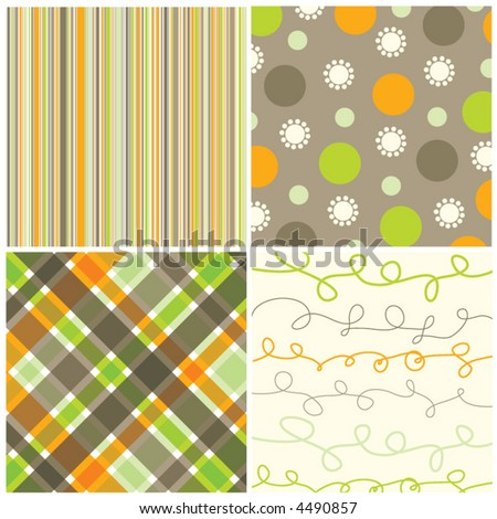 retro orange green brown pattern combo (vector) - illustrated pattern