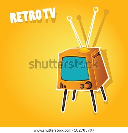 retro orange tv. vector illustration.