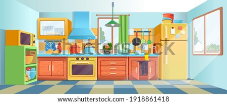 Retro сozy colored kitchen interior with fridge, kitchen stove, cupboard dishes. Vector illustration flat cartoon style. Stock photo ©
