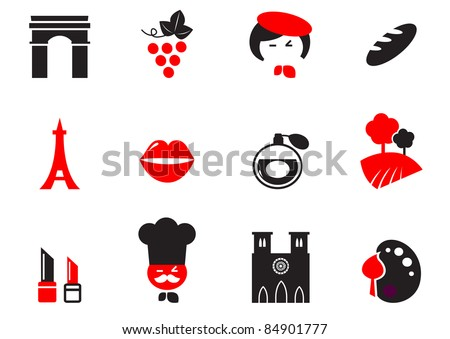 Retro Paris Culture, French Culture & Cuisine  icons set - red, black Icons set and design elements with French and Paris themes. Vector cartoon. - stock vector