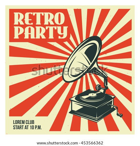 stock vector retro party advertising with old gramophone old school poster design vector vintage illustration 453566362 - Каталог — Фотообои «Ретро»