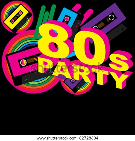 Retro Party Background - Audio Cassette Tape and Disco Sign on Multicolor Background