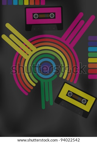 Retro Party Background - Retro Audio Tapes and Multicolor Shapes