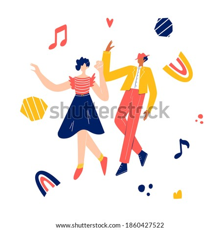 Retro party dance concept. Black young couple dancing swing, lindy hop, rock n roll. Vector illustration ストックフォト ©
