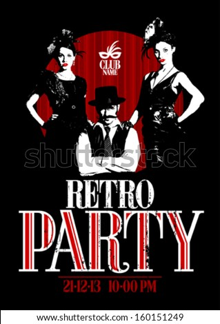 retro party design with old
