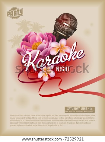 retro party flyer or poster template with microphone and exotic flowers