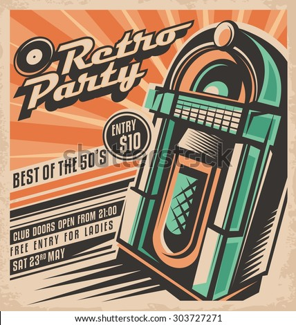 Retro party invitation design template. Vintage jukebox poster layout. Best of fifties rock and roll hits dancing and fun concept. Unique music background theme. Night club or disco event ad.