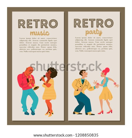 Retro party. Jazz musicians playing trumpet, guitar and saxophone. Dancing girl and man. Jazz singer. Set of characters in the style of 70-80 years. Vector illustration.
