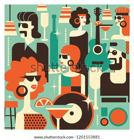 Retro party. Men and women fashionably dressed in style of 70-80 years. Drinks, glasses, vinyl records. The scene in the bar. Poster in the style of 70-80 years. Vector illustration in retro style.