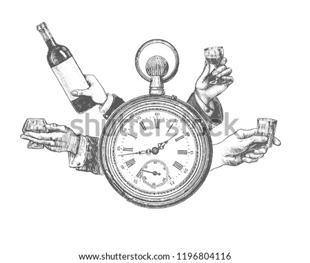 Retro Party Poster banner, invitation template design, party time concept. Antique pocket watch. Hands with alcohol drink.Vintage vector lineart engraving style. Gatsby Epoch