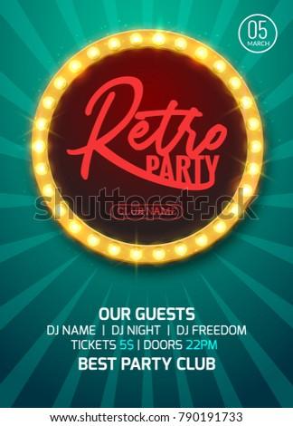 Retro party poster design. Vector graphic style backgorund for retro disco club party.