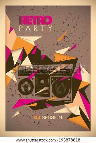 retro party poster with