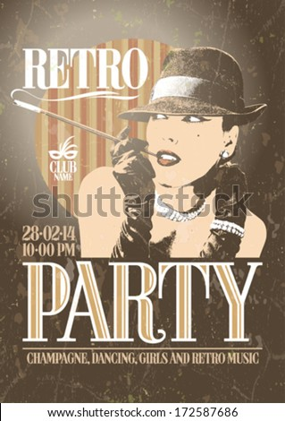 retro party poster with old