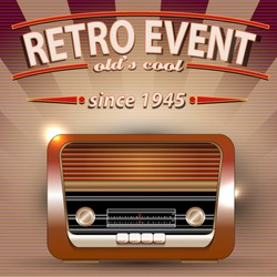 Retro Party poster with Vintage Radio