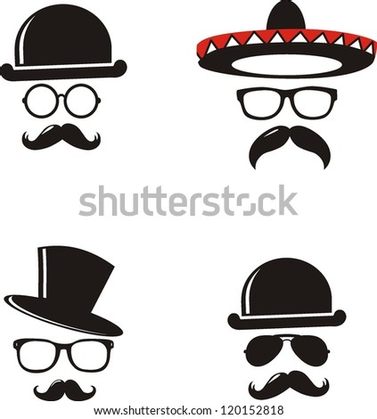 Retro Party set - Sunglasses, hat and mustaches