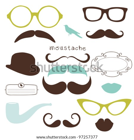 Retro Party set - Sunglasses, lips, mustaches