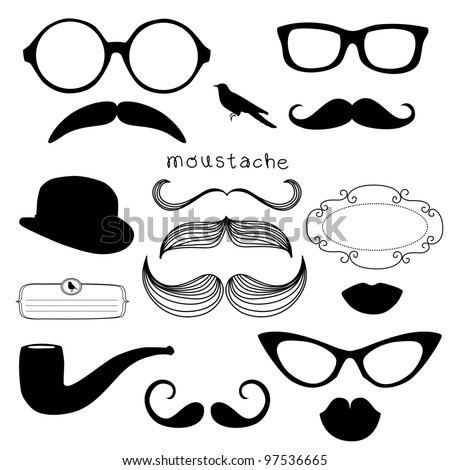 Retro Party set Sunglasses lips mustaches