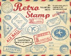 Retro passport stamps.