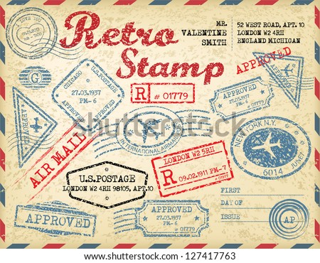 Retro passport stamps.