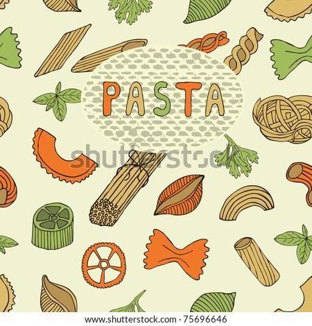 retro pasta seamless pattern