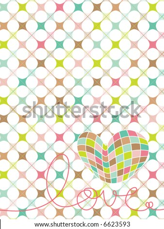 love heart vector. stock vector : retro pastel mosaic love heart (vector)