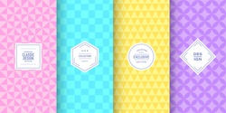 Retro pastel triangle patterns. Set of vector patterns retro style color. Cute fashion background design. Patterns for birthday celebrations, kids invitation, scrapbooking. Retro collection