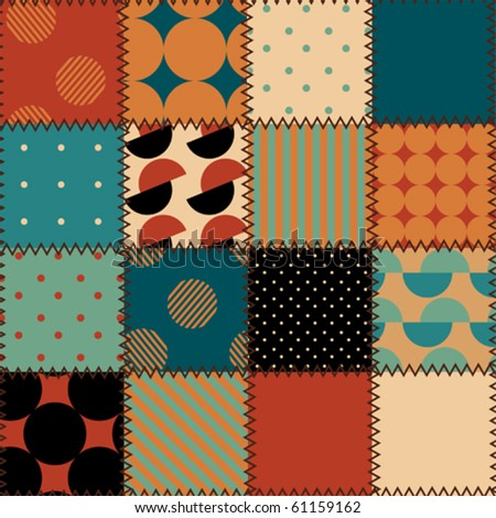 Retro patchwork pattern. Seamless background pattern. Will tile endlessly. - stock vector