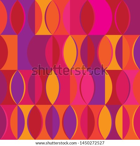 Retro pattern in 50-60gg style in oval shapes of different shades of orange, yellow, red, pink and purple vector . Geometric vector illustration color illustration