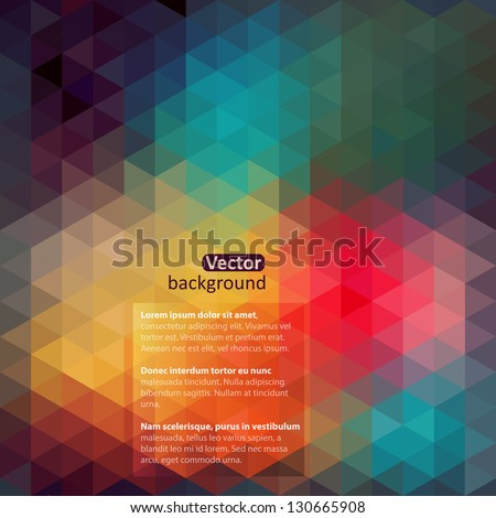 Retro pattern of geometric shapes. Colorful-mosaic-banner. Geometric hipster retro background with place for your text. Retro triangle background