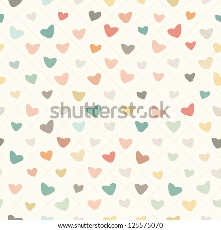 Retro Pattern with Colorful Hearts with Retro Texture